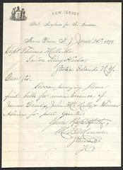 Letter to Captain Thomas Melville, Governor of Sailors' Snug Harbor, from  M. [Martin] B. Monroe, of the New Jersey State Asylum for the Insane, Morris Plains, N.J., June 5, 1878