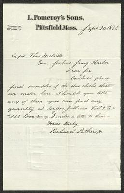 The letter is handwritten with black ink on L. Pomeroy's Sons letterhead, which is on cream-colored paper with blue lines below the header. The sheet has been folded several times.