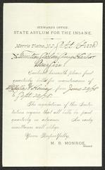 Letter to the Trustees of the Sailors' Snug Harbor, from M. [Martin] B. Monroe, Steward at the New Jersey State Asylum for the Insane, Morris Plains, N.J., September 16, 1878