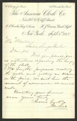 The letter is handwritten with brown ink on Ansonia Clock Co. letterhead, which is on cream-colored paper with blue lines below the header. The sheet has been folded several times.