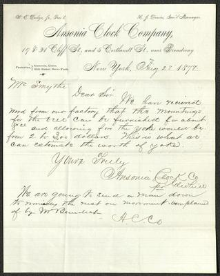 The letter is handwritten with brown ink on Ansonia Clock Co. letterhead, which is on cream-colored paper with blue lines below the header. The sheet has been folded several times, leaving particularly prominent horizontal fold marks.