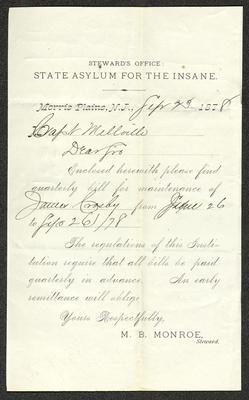 The letter is a pre-printed form on cream-colored paper with handwritten additions in dark ink. It has been folded several times.