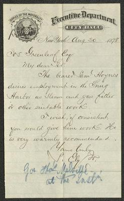 "The letter is handwritten with dark brown ink on Office of the Mayoralty, Executive Department, City Hall letterhead, which is on tan-colored paper with blue lines below the header. Over the printed seal in the upper left corner is written ""private"". The sheet has been folded several times. At the bottom of the page is a blue crayon or pencil notation with Governor Thomas Melville's name."