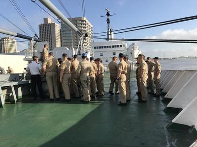 While at New Orleans, a group of cadets/students are formed up in the morning on the ship so attendance can be taken.