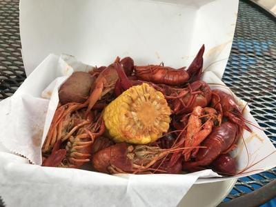 Cajun spiced boil crawfish with a potato and corn
