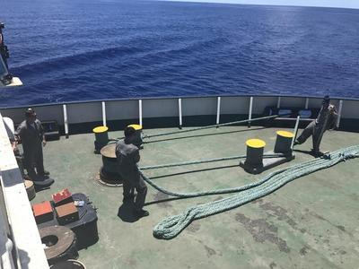 mooring lines at the stern of the ship