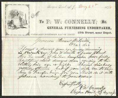 The letter is handwritten with dark brown ink on P. W. Connelly, General Furnishing Undertaker letterhead, which is on cream-colored paper with red and blue lines below the header. In the left corner of the header is an illustration of a woman in mourning in front of a grave monument. The sheet has been folded several times, with particularly prominent horizontal fold marks.