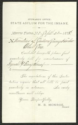 The letter is a pre-printed form on cream-colored paper with handwritten additions in brown ink. It has been folded several times and the most prominent fold divides the sheet in half vertically.