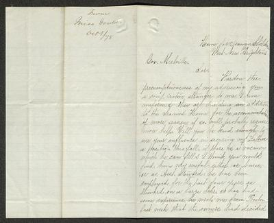 The letter is handwritten in brown ink on cream-colored paper with faint blue lines. It has been folded in half; on the right half of this side of the paper is the first part of the letter. On the left half is a notation at the upper edge, just to the left of the central vertical fold, with the name of the sender, date, and subject of the inquiry, probably for filing purposes. To the right of the central fold is an embossed seal of a human bust.