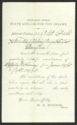 The letter is a pre-printed form on cream-colored paper with handwritten additions in brown ink. It has been folded several times.