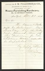 Letter to Captain Thomas Melville, Governor of Sailors' Snug Harbor, from J. M. Falconer, of J. M. Falconer & Co., December 21, 1878