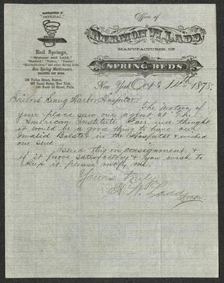 The letter is handwritten with dark brown ink on Office of Hermon W. Ladd letterhead, which is on onionskin paper that has blue lines below the header. The sheet has been folded several times.