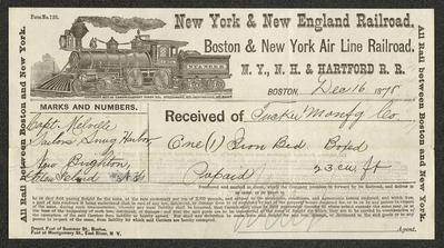 The paper is pre-printed with the New York & New England Railroad logo and information, as well as various fields to be filled out and a disclaimer. It has been filled out by hand in black ink and signed at the bottom in pencil.