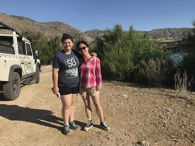 Two female cadets is on a Marco Polo Expediciones, hiking through the mountains of Alicante
