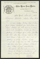 Letter to Captain Thomas Melville, Governor of Sailors' Snug Harbor, from Thomas Gill, of Office Borax Soap Works, November 18, 1878