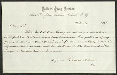 The letter is handwritten in brown ink on cream-colored Sailors' Snug Harbor letterhead, which has faint blue lines under the header.
