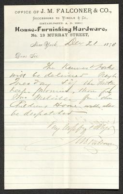 The letter is handwritten with brown ink on J. M. Falconer & Co. letterhead, which is on cream-colored paper with blue lines below the header. The sheet has been folded several times.