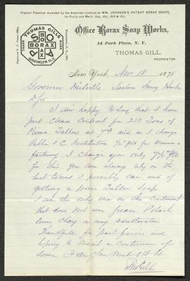 The letter is handwritten with dark brown ink on Office Borax Soap Works letterhead, which is on cream-colored paper with blue lines below the header. The header includes an octagonal Thomas Gills Borax Soap trademark logo. The sheet has been folded several times and has a distinct vertical fold dividing the paper approximately in half.