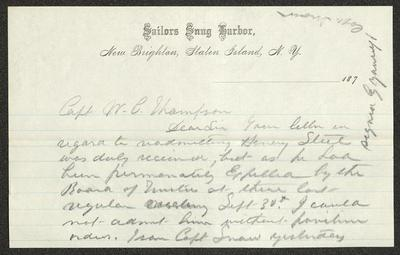 The letter is handwritten in pencil on Sailors' Snug Harbor letterhead, which is on cream-colored paper with blue lines below the header. The sheet has been folded several times.