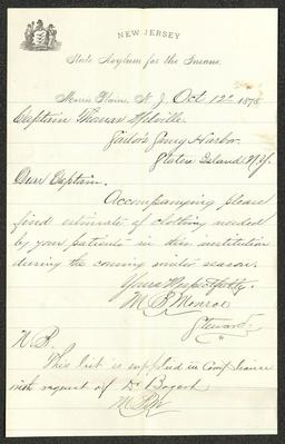 This letter is handwritten with brownish-gray ink on New Jersey State Asylum for the Insane letterhead, which is on cream-colored paper with blue lines below the header. The sheet has been folded several times.