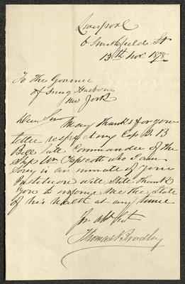 The letter is handwritten in dark brown ink on tan-colored paper. It has been folded several times.