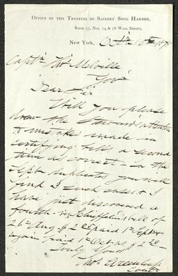 The letter is handwritten with brown ink on Office of the Board of Trustees of Sailors' Snug Harbor letterhead, which is on cream-colored paper. The sheet has been folded several times.