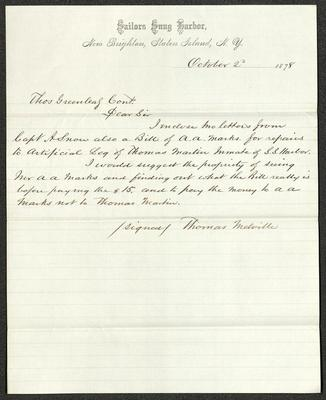 The letter is handwritten in brown ink on cream-colored Sailors' Snug Harbor letterhead, which has faint blue lines under the printed header.
