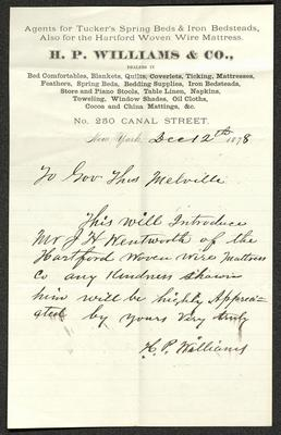 The letter is handwritten with dark brownish-black ink on H. P. Williams & Co. letterhead, which is on cream-colored paper with blue lines below the header. The sheet has been folded several times and has a distinct vertical fold dividing the paper in half.