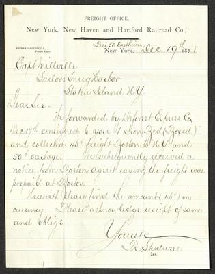 The letter is handwritten with dark brown ink on New York, New Haven and Hartford Railroad Company letterhead, which is on cream-colored paper with blue lines below the header. The sheet has been folded several times.