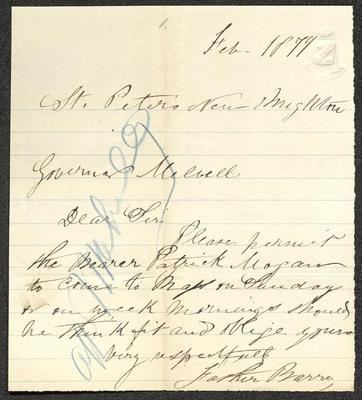 """The letter is handwritten in brown ink on cream-colored paper with faint blue lines. It has been folded several times and the most prominent fold divides the sheet approximately in half vertically. Along the left half is a vertical scrawl in blue crayon or pencil that appears to read """"attn Melville."""""""