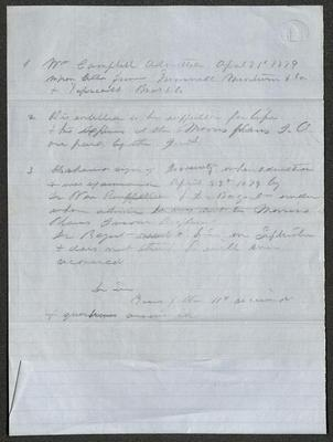 The document is written in pencil on blue paper with blue lines. The bottom section of the paper has been folded up.