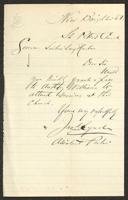 """The letter is handwritten in dark brown ink on cream-colored paper with blue lines. It has been folded several times and the most prominent fold divides the sheet in half vertically. In the upper left corner is an embossed seal with a shield over crossed branches and the diagonal motto """"CROTON"""" across the shield."""
