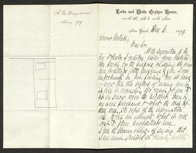 The letter is handwritten with brown ink on Leake and Watts Orphan House letterhead, which is on cream-colored paper with blue lines below the header. . It has been folded in half; on the right half of this side of the paper is the first part of the letter. On the left half is a notation in the upper corner with the name of the sender, date, and subject of the inquiry, probably for filing purposes. Below this notation is a pencil sketch, perhaps of a building or room layout.