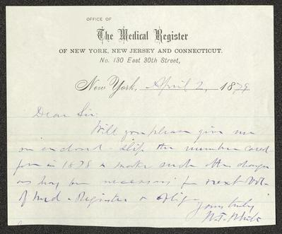 The letter is handwritten with blue ink on Medical Register of New York, New Jersey, and Connecticut letterhead, which is on cream-colored paper, with blue lines below the header, that has been cut down into a small note-sized sheet. The paper has been folded several times