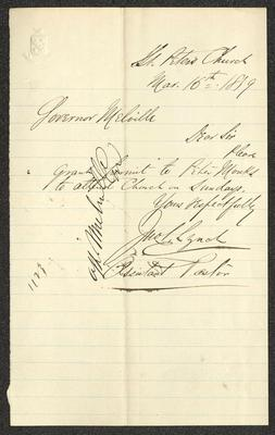 """The letter is handwritten in dark brown ink on cream-colored paper with blue lines. It has been folded several times. In the upper left corner is an embossed seal with a shield over crossed branches and the diagonal motto """"CROTON"""" across the shield. Written vertically over the script on the left side is the note """"attn Melville""""."""
