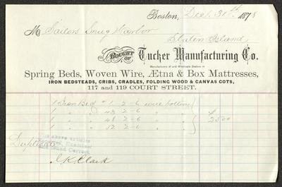The receipt is written in pencil on a pre-printed Tucker Manufacturing Co. receipt form, which has blue and red ledger lines below the header. The receipt has been folded several times.