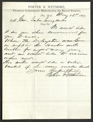 The letter is handwritten with dark brown ink on Porter & Wetmore letterhead, which is on cream-colored paper with blue lines below the header. The sheet has been folded several times.