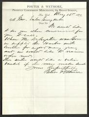 Letter to the Governor of Sailors' Snug Harbor [Captain Thomas Melville], from Porter & Wetmore, Produce Commission Merchants, May 13, 1879
