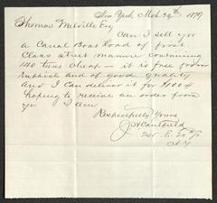 Letter to Captain Thomas Melville, Governor of Sailors' Snug Harbor, from J. S. Caulfield, March 20, 1879