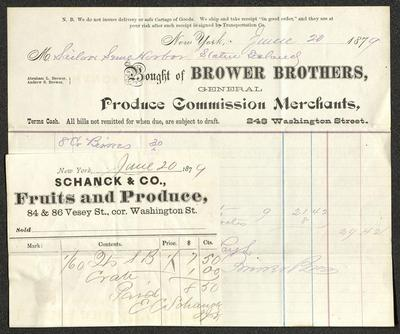The two receipts are handwritten on Brower Brothers and Schanck & Co. pre-printed forms. The larger receipt, from Brower Brothers, has blue and red ledger lines and is written in blue ink. The smaller receipt, affixed to the lower left corner of the Browers Brothers receipt, is written in gray ink.