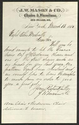 The letter is handwritten with dark brown ink on J. W. Mason & Co. letterhead, which is on cream-colored paper with blue lines below the header. The sheet has been folded several times.