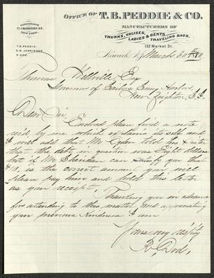 The letter is handwritten with dark brown ink on T. B. Peddie & Co. letterhead, which is on cream-colored paper with blue lines below the header. The sheet has been folded several times.