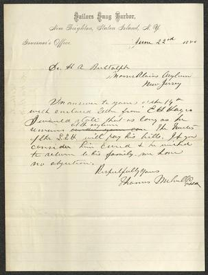 The letter is handwritten in brown ink on Sailors' Snug Harbor letterhead, which is on cream-colored paper with blue lines below the header. The sheet has been folded several times.