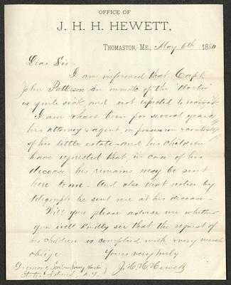 The letter is handwritten with dark brown ink on Office of J. H. H. Hewett letterhead, which is on cream-colored paper. The sheet has been folded several times.