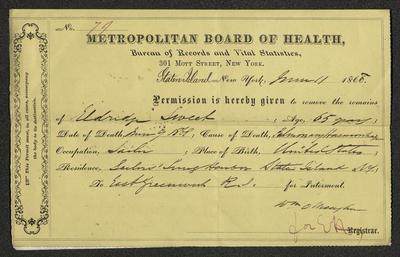 "This permit is handwritten in black ink on a preprinted form on yellow-colored paper. It has been folded in half vertically and horizontally. The permit has the letterhead for the Metropolitan Board of Health. In the bottom right corner there is a note that reads ""for EH"" written in purple-colored ink."