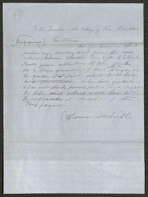The document is written in pencil on blue paper with blue lines. The bottom section of the paper has been folded up. In the upper left corner is an embossed oval seal with a building in the center.