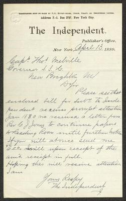 """The letter is handwritten with dark brown ink on The Independent letterhead, which is on cream-colored paper with blue lines below the header. The sheet has been folded several times and has a distinct vertical fold dividing the paper in half. In the upper left corner is an embossed seal in the shape of a shield that appears to have the words """"FIRST CLASS"""" over the top."""