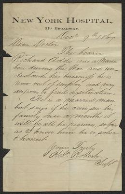 The letter is handwritten with dark brown ink on New York Hospital letterhead, which is on cream-colored paper with blue lines below the header. The sheet has been folded several times and has a distinct vertical fold dividing the paper in half.