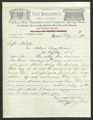 The letter is handwritten with dark brown ink on Tucker Manufacturing Company letterhead, which is on cream-colored paper with blue lines below the header. The sheet has been folded several times.
