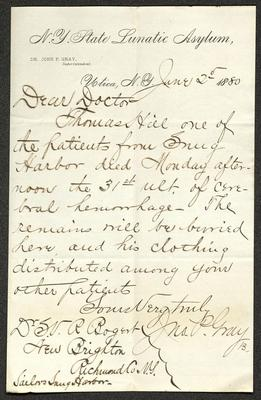 The letter is handwritten with dark brown ink on N. Y. State Lunatic Asylum letterhead, which is on cream-colored paper with blue lines below the header. The sheet has been folded several times.